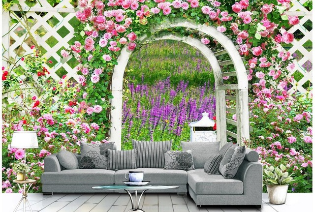 3d flower wallpaper rose garden papel de parede wall decoration - Garden Flowers Wallpaper