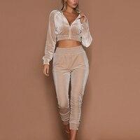 2017 ITFABS Newest Arrivals Fashion Hot Women Casual Simple Hoodie Sweatshirt Pant Set Female Wear Midriff