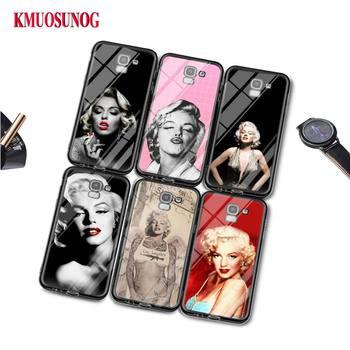 Negro funda de silicona de moda Marilyn Monroe para Samsung Galaxy j8 j7 j6 j5 j4 j3 Plus primer 2018 de 2017 de 2016 cubierta de la bolsa del teléfono