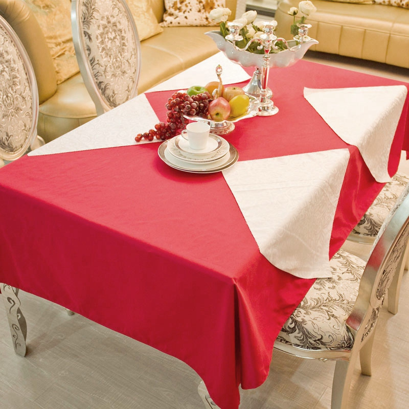 Imitation Cotton Red Rectangle Round Square Hotel Tablecloths Wedding Table  Round Cloth For Decoration Mariage Table