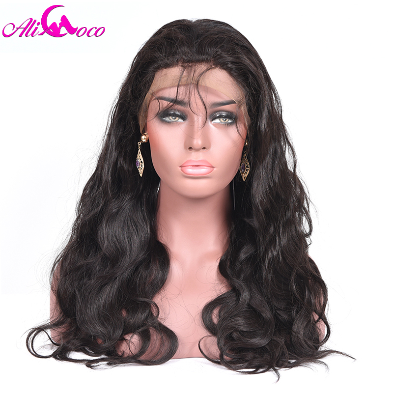 Ali Coco Brazilian Body Wave Lace Front Wigs Natural Black Color 150 Density 13X4 Human Hair