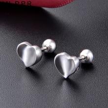 MLRRR Sterling 925 Silver Jewelry Simple Heart Shape Stud Earrings for Women simple heart stud earrings