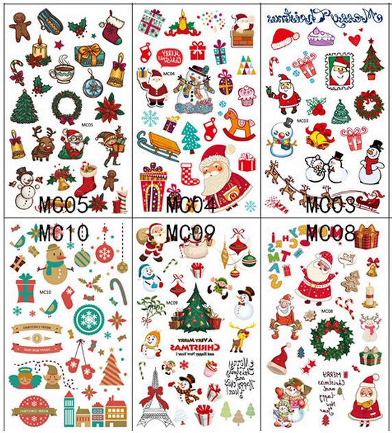 10pcs/lot Christmas Tattoo Colorful Party Sticker Men Women Kids ...