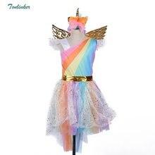 94550bce432c (Ship from US) Girls Christmas Unicorn Costume With Headband Gold Wings for  Kids Pony Rainbow Tutu Dress Children Halloween Theme Party Dress