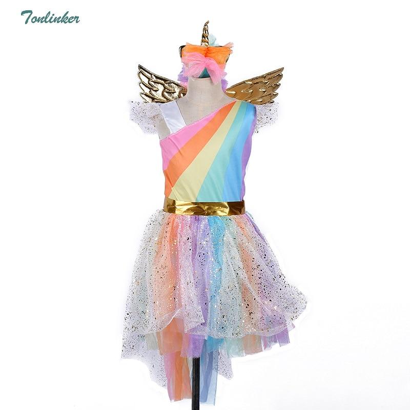 Girls Christmas Unicorn Costume With Headband Gold Wings for Kids Pony Rainbow Tutu Dress Children Halloween Theme Party Dress