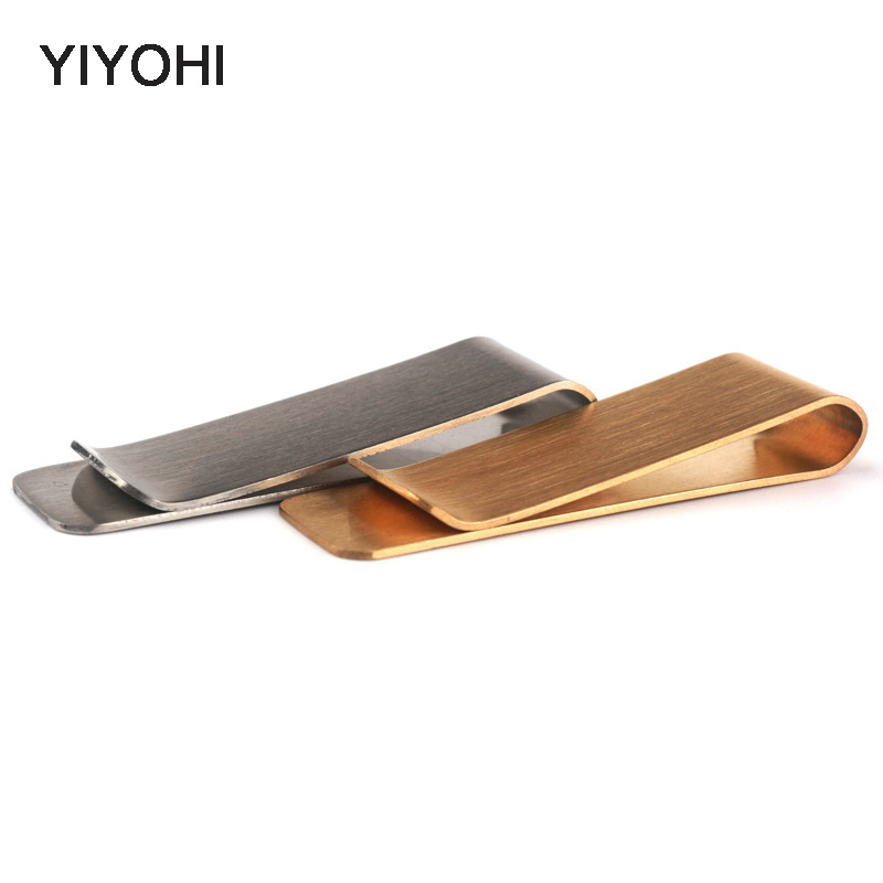 YIYOHI Fashion Metallic Money Clip Wallet Men High Quality Simple Gold Silver Dollar Cash Clamp Holder Wallet For Man Gift