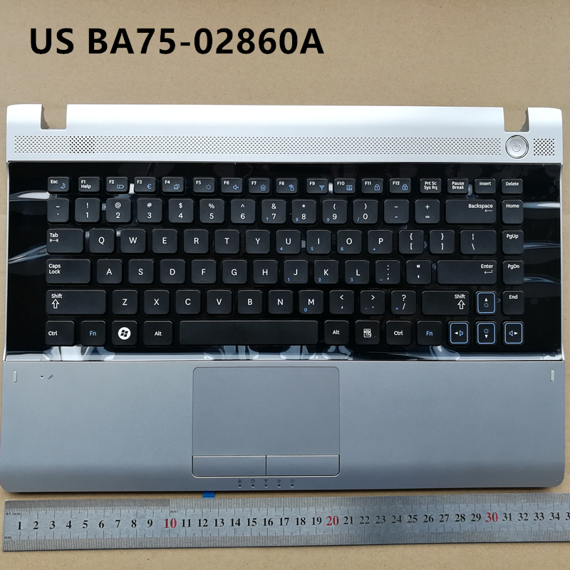 US New laptop keyboard with touchpad palmrest  for Samsung RV411 RV415 RV420 RV409 E3420 E3415  BA75-02860A sliver