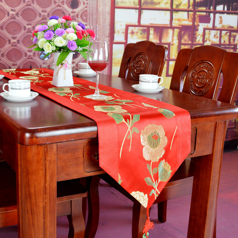 Chinese Silk Brocade Red Paper Table Runner China
