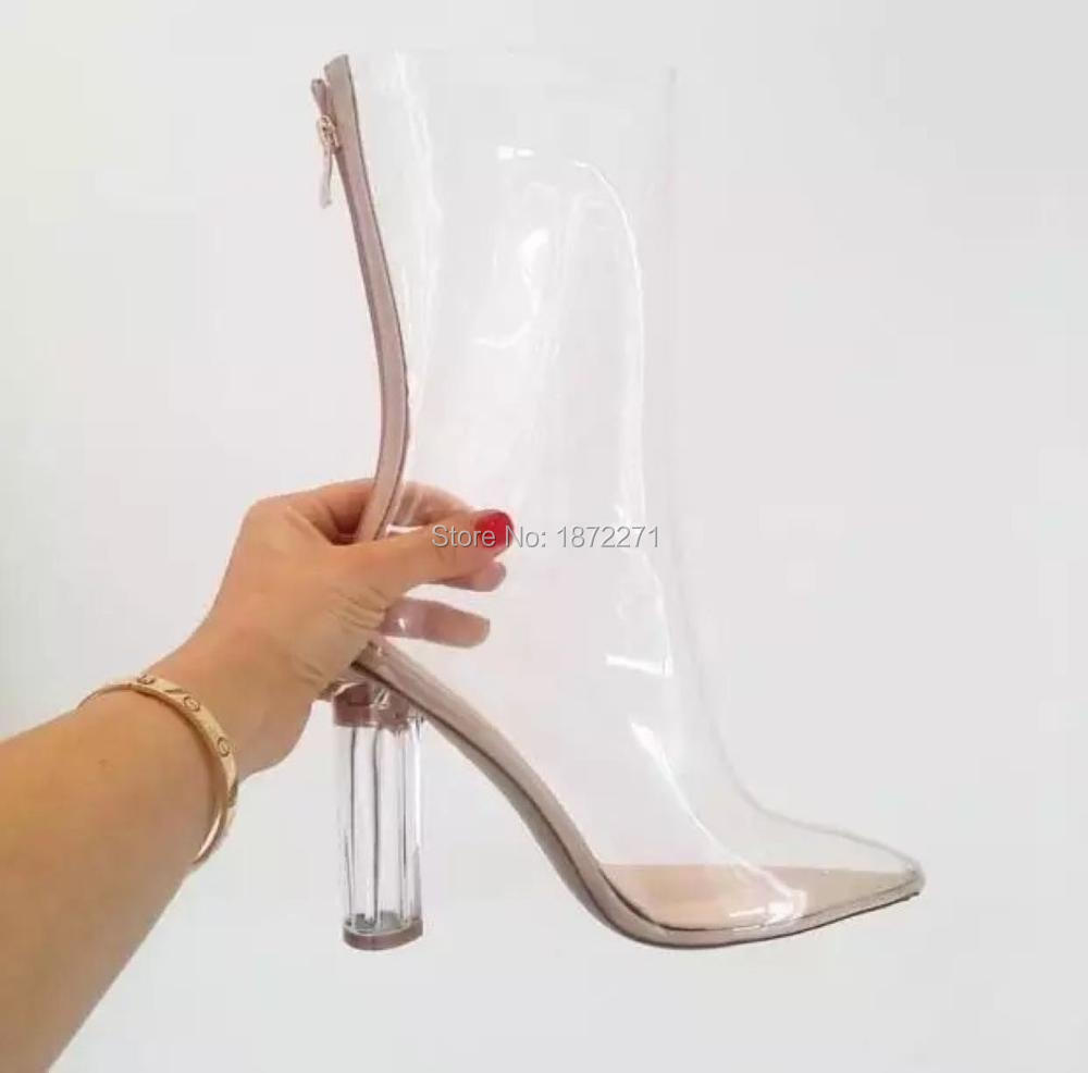 2016 Newest Pointed Toe PVC Transparent Ankle Bootie High Thick Heel Back Zipper Gladiator Sandal Boots For Women zapatos mujer bling stars printing pvc transparent crystal heels mid calf boots for women pointed toe back zipper thick high heel summer boots