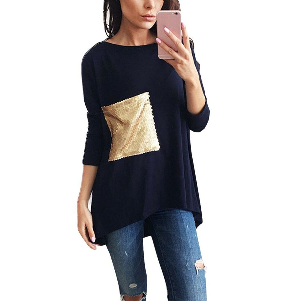 Liva Women Casual Long Sleeve T-shirts Tops Brief Asymmetric Bottoming O Neck Tunic Women Shirts with Sequined Gold Summer Top