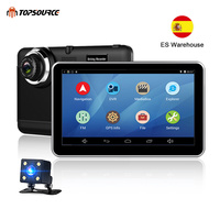 TOPSOURCE Car DVR GPS Navigation 7 inch Android Bluetooth wifi fhd 1080p Camera Recorder Vehicle GPS 1080P record free maps