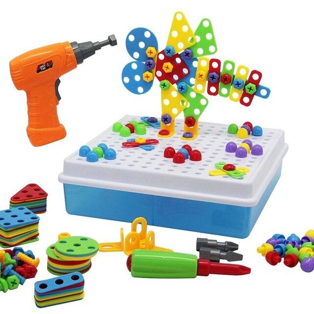Los niños taladro eléctrico tuerca juguetes montado encuentro herramienta bricolaje rompecabezas de mosaico diseño-Bloque de juguetes para niños de regalo