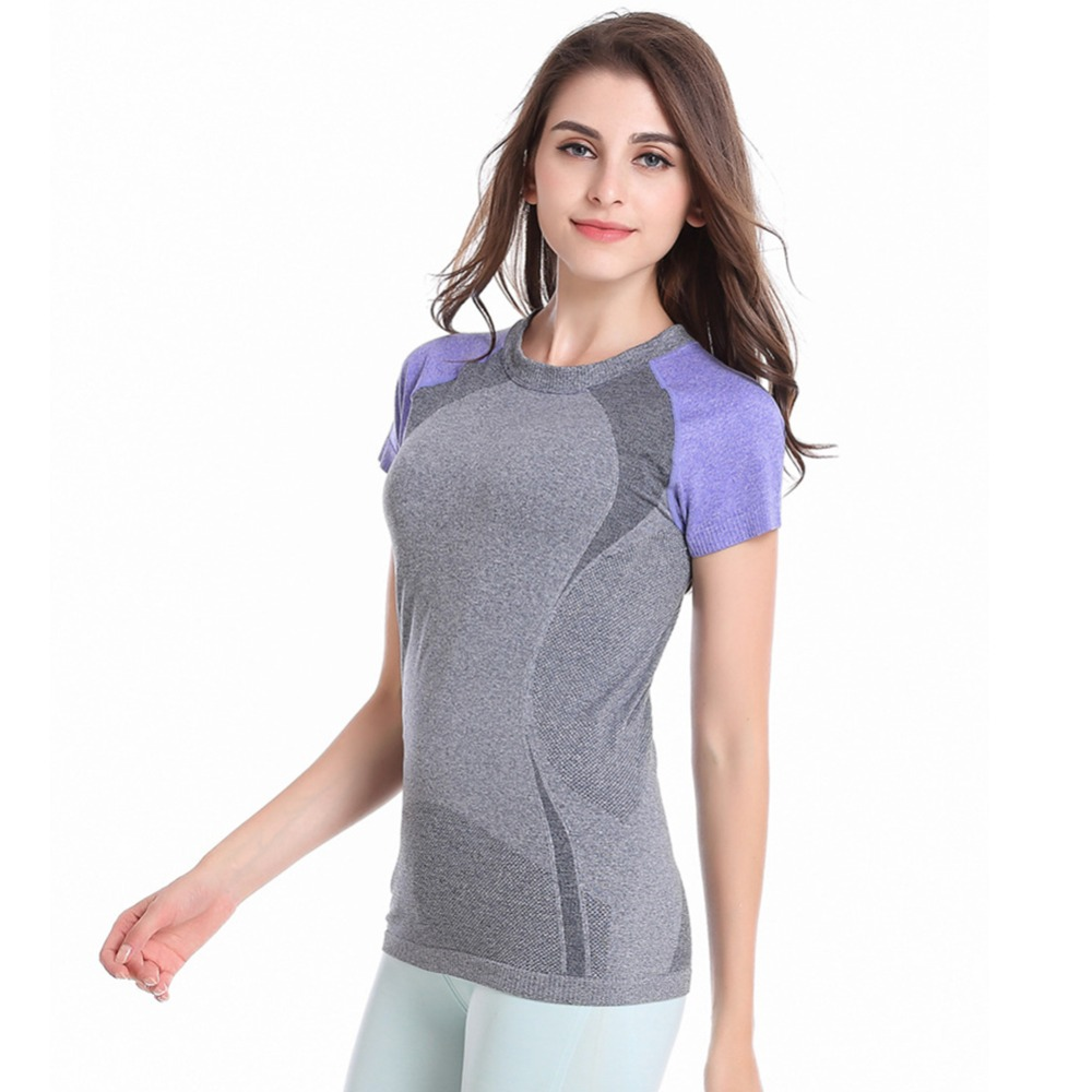 Quick Dry Women Short Sleeve Sports T-shirt Fitness Yoga Runnning Athletic Tee Outdoor