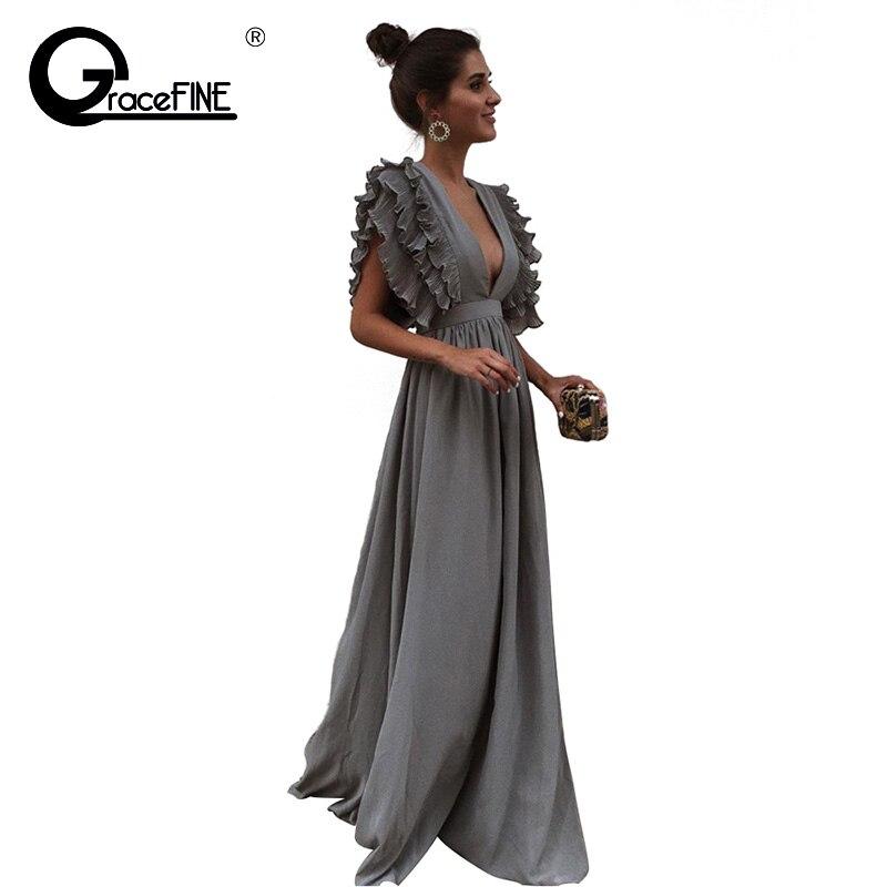 7b9734ae973 Для женщин Летняя модная одежда Super Sexy Глубокий V шеи платье девушка  ночной клуб длинное платье жабо в богемном стиле с оборками