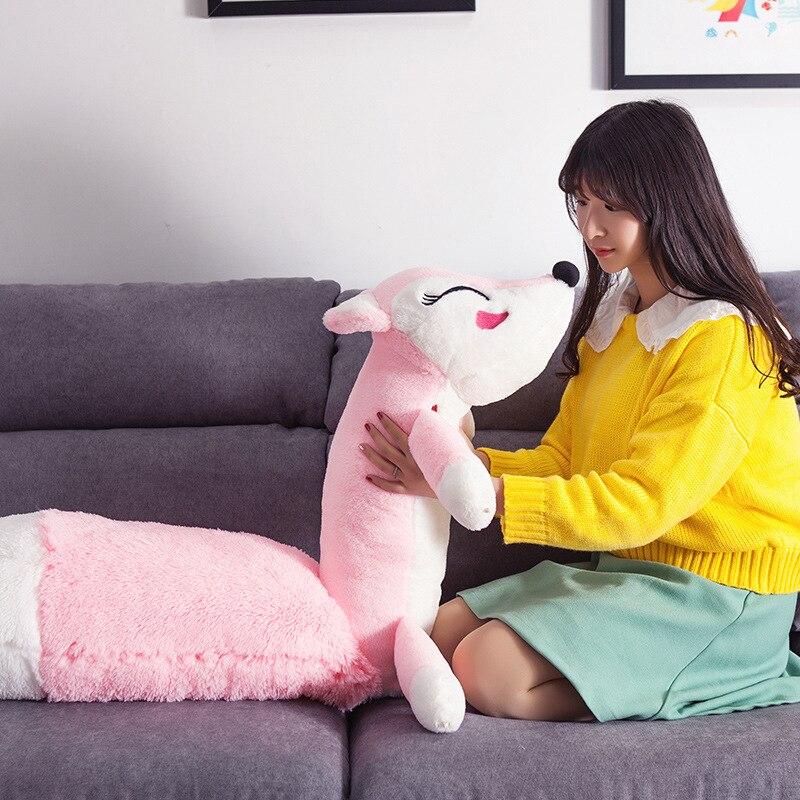 Soft Pillow 160cm Lovely Pink Fox Plush Toys Kawaii Stuffed Animal Dolls Foxes Plush Pillow Cushion Valentine Day Birthday Gift