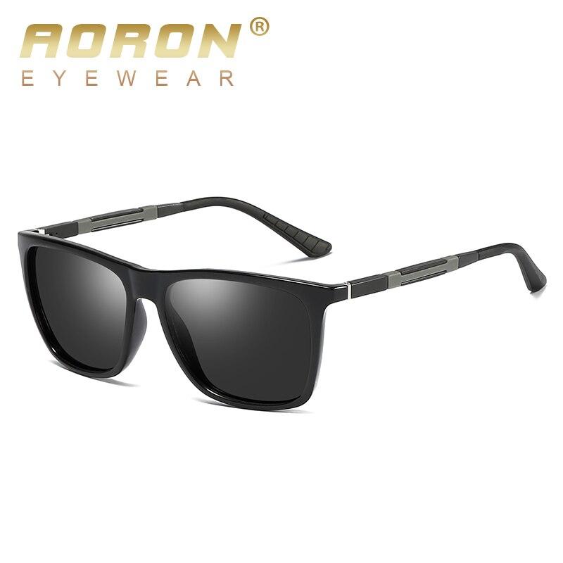 AORON Mens Polarized Sunglasses Men Classic Square Mirror Sun Glasses Aluminum Magnesium Leg UV400 Eyewear