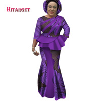 Hitarget 2018 New African Splice Long Dresses for Women Dashiki Traditional Cotton Top Skirt Set of 3 pieces Clothing WY2599