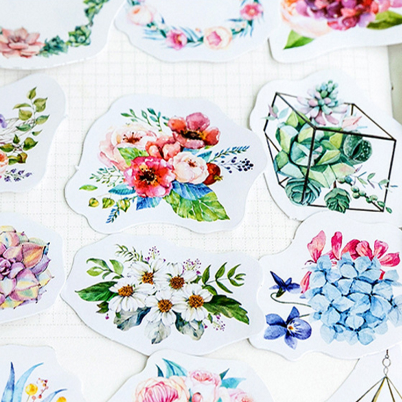 Купить с кэшбэком 46pcs/pack green plants series paper stickers  DIY decorative scrapbooking sticky for diary album gifts label
