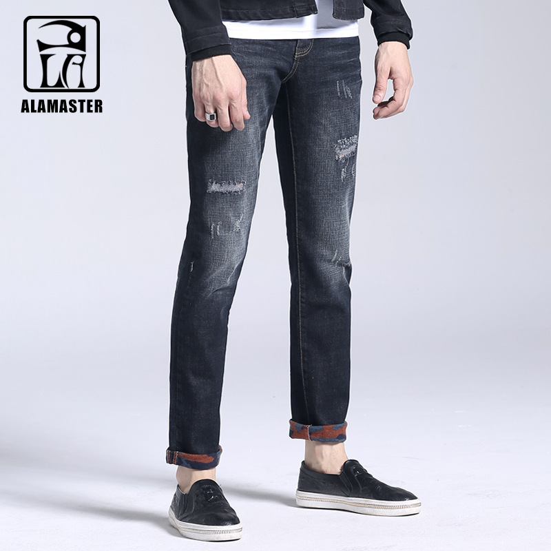 2017 Autumn and Winter Mens Thin Velvet Jeans Mens Warm Holes Jeans Straight Slim Mens Trousers 6169071