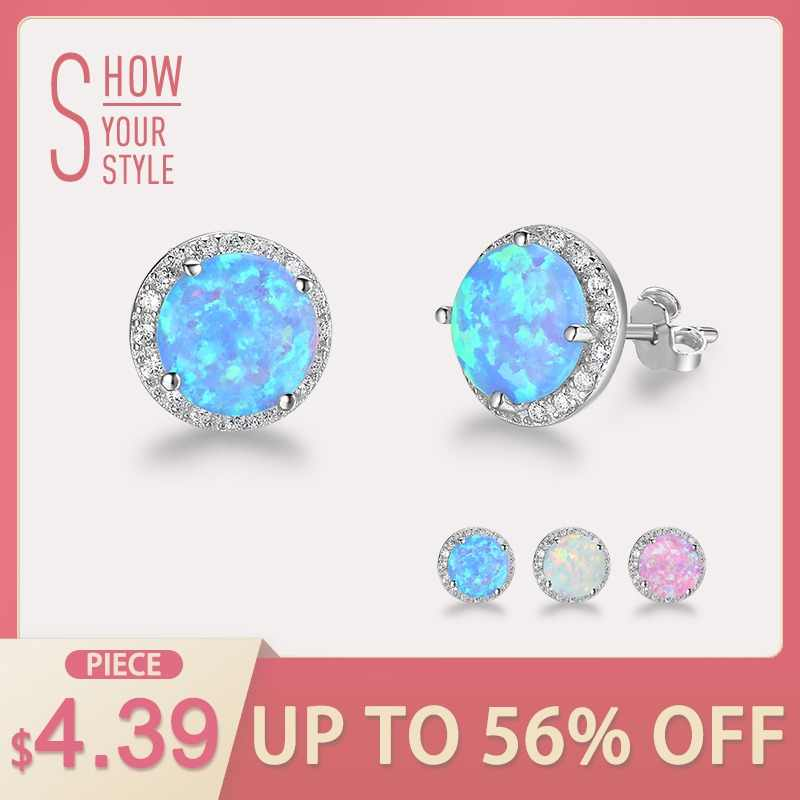 f7d6a5af8 Classic Round White Pink Blue Fire Opal Stud Earrings 925 Sterling Silver  Cubic Zirconia Jewelry Gift