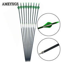 6/12pcs Archery Composite Carbon Arrow Spine 500 31 inch Replaceable Arrowheads For 20-60lbs Compound Bow Hunting Shooting