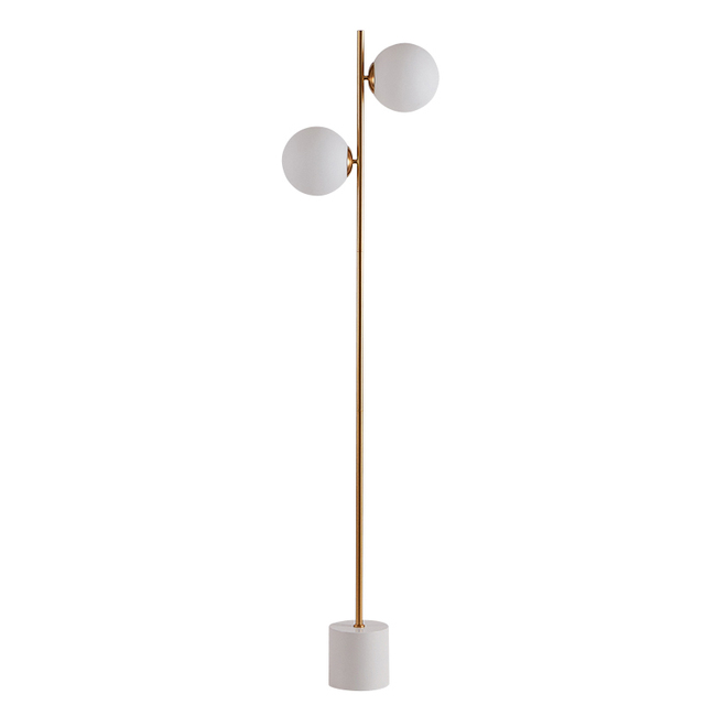Modern Floor Lamp 2 Head Marble Base Coffee Table Standing Light Fixture Living Room Study Bedside Reading Sofa Led