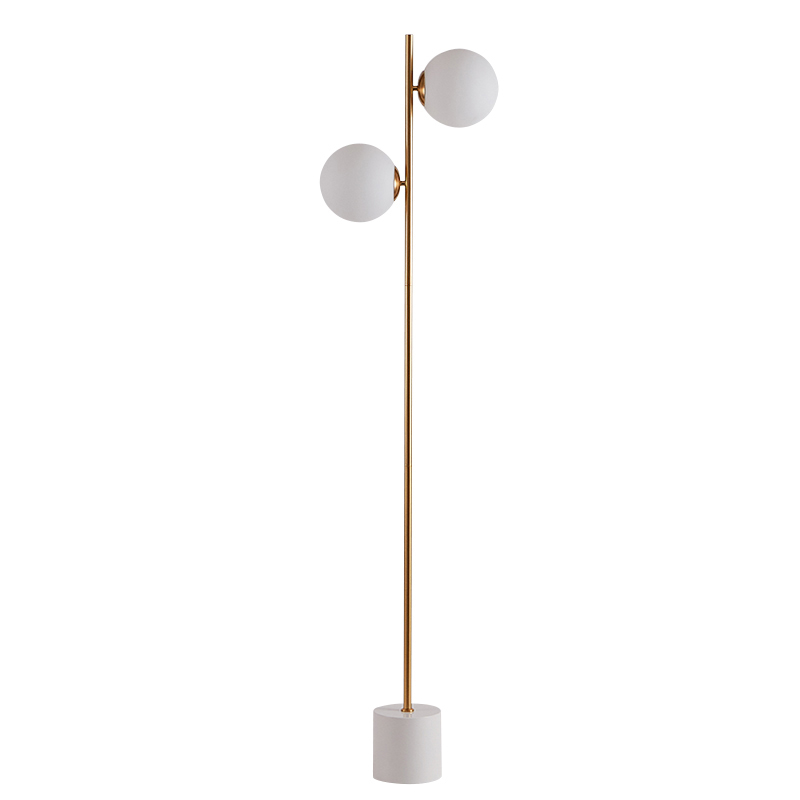 Modern Floor <font><b>Lamp</b></font> 2 head marble base Coffee Table <font><b>Standing</b></font> Light Fixture Living Room Study Bedside Reading sofa LED <font><b>Lamp</b></font> image