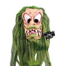 Terror Halloween Grimasse Maske Grüne Lange Haare Latex Geist Maskerade Cosplay für Erwachsene Halloween Requisiten Kostümfest
