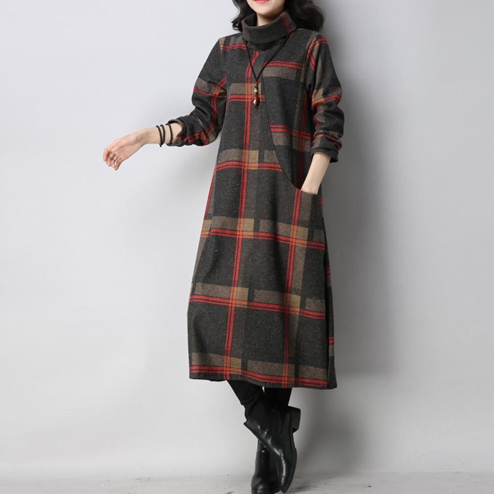 4d44536f96e Купить Женское повседневное шерстяное платье в стиле ретро с длинными  рукавами и принтом в клетку Цена Дешево.