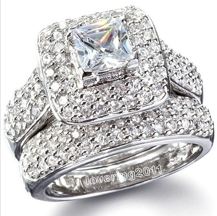 choucong majestic sensation 134pcs stone 5a zircon stone 14kt white gold gf wedding band ring set - Diamonique Wedding Rings