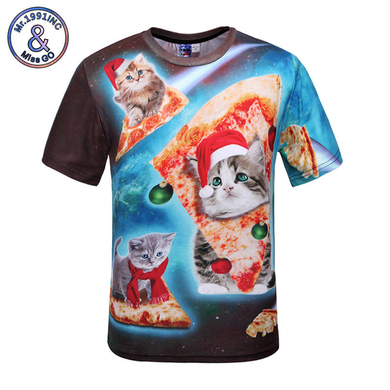 Mr.1991INC Men 3D T-shirt Starry Sky Pizza Cat Tops Tees New Summer Style Mens Short Sleeves Tide Brand Young Print T shirt