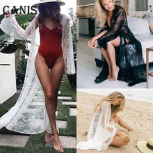 Summer Women Lace Boho Bikini Cover Up Kimono Cardigan Blouse Long Sunscreen Bikini Cover Up Kimono Cardigan Blouse Long plus lace insert button up blouse