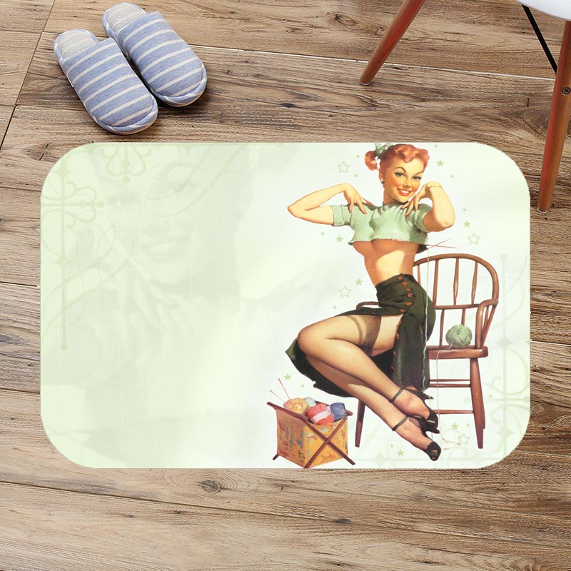 Pin Up Girl Bathroom Bath Mat Flannel Absorbent Non Slip Doormat Customized Entrance Door Mats Antiskid Toilet Rug