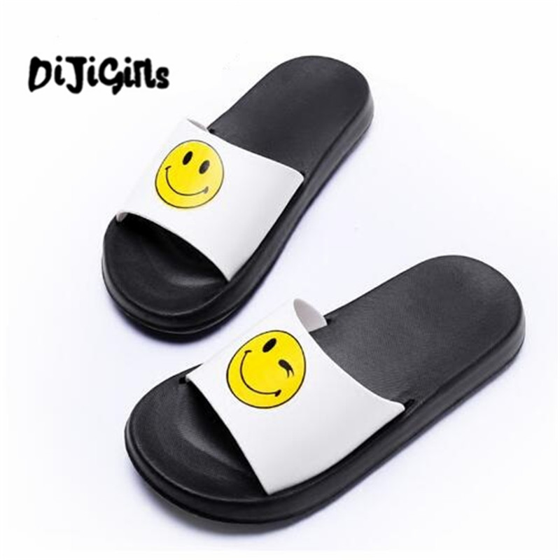 Fashion 2018 Emoji Women Slides Summer Smile Face Cute Slippers Women Shoes Flip Flops Sandals Beach Slides Zapatillas Mujer instantarts women flats emoji face smile pattern summer air mesh beach flat shoes for youth girls mujer casual light sneakers