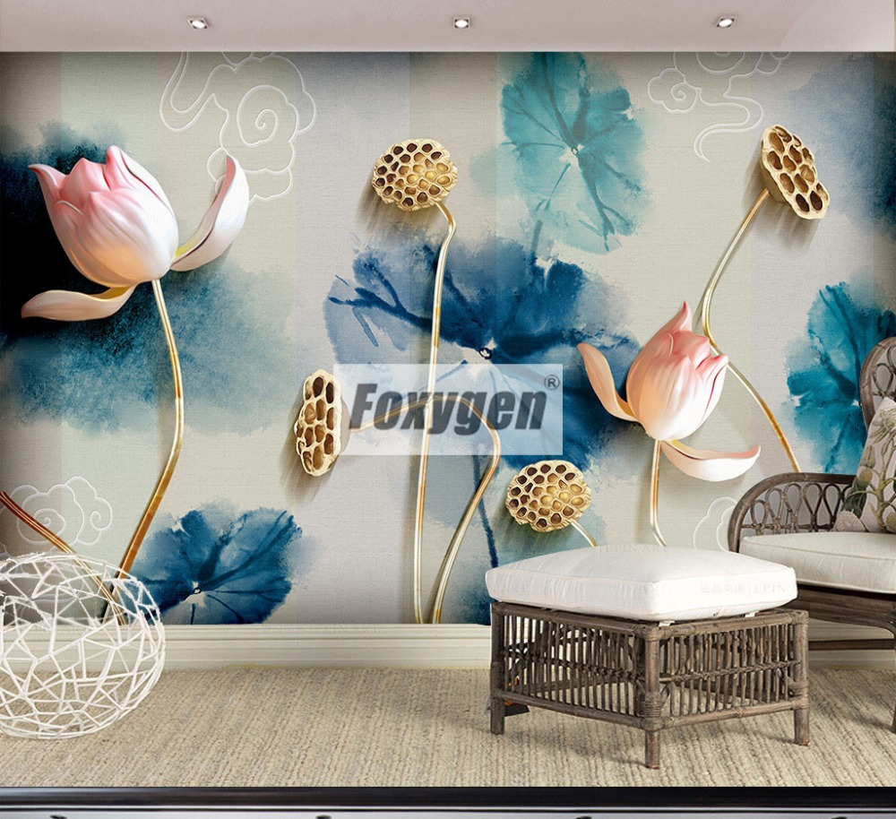 Customized NON-WOVEN Wallpaper mural with kinds of nice 3D lotus flower flowers animals Forest abstract landscapes cities customized home personalized seamless integration of the abstract paintings lotus wallpaper 1x3m