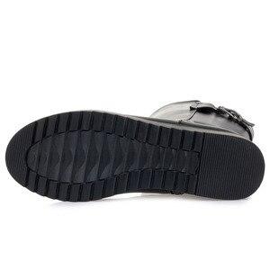 Image 5 - DRKANOL botas de nieve cálidas de piel de lana Natural para mujer, zapatos planos de invierno, botas de media caña de cuero genuino, impermeables, color negro, talla grande 35 43