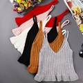 Корейский стиль моды harajuku осень V шеи лифчики вязаный свитер студент жилет slim с коротким растениеводство топ оборками обрезанные feminino