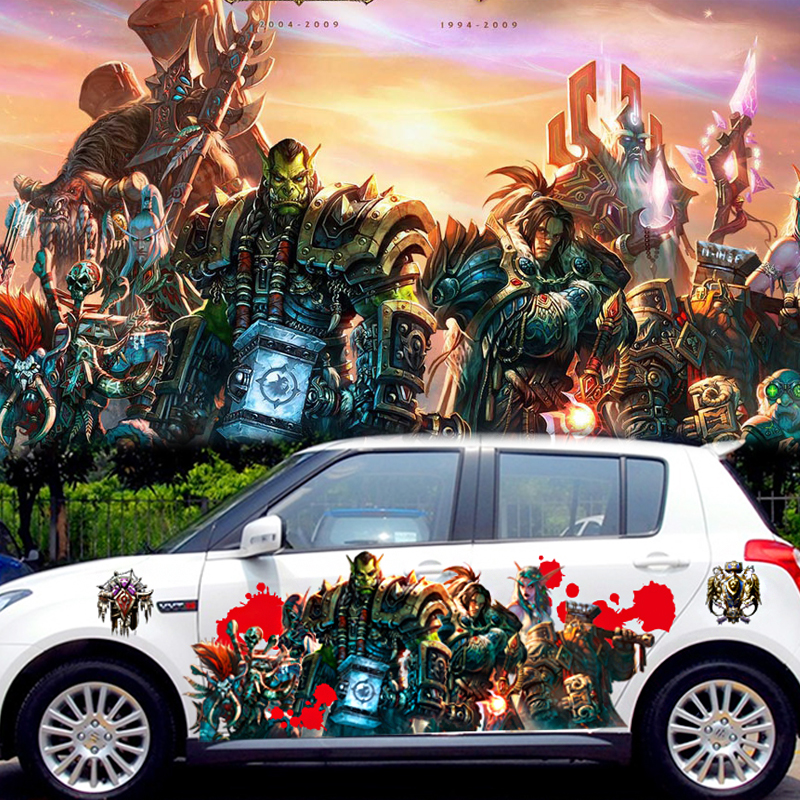 2pcs 3d waterproof printing car body decals car spray paint warcraft stickers alliance game poster animation