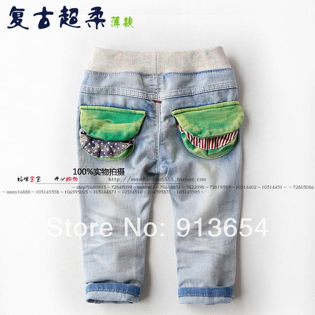 Nueva llegada 2014 del otoño del resorte niños jeans ropa niño lavan pantalones de Mezclilla niño pantalones casuales