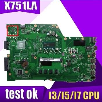 X751LA motherboard For ASUS X751L K751L R752L X751LAB  X751LN X751LD X751LX X751LJ I3 / I5 / I7 CPU Laptop mainboard LVDS/EDP