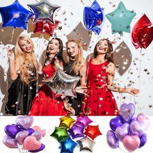 8SEASON 5pcs 18 inch Star Heart Foil Balloons Wedding Helium Balloon rose Gold Birthday Party Supplies BabyShower Decorations