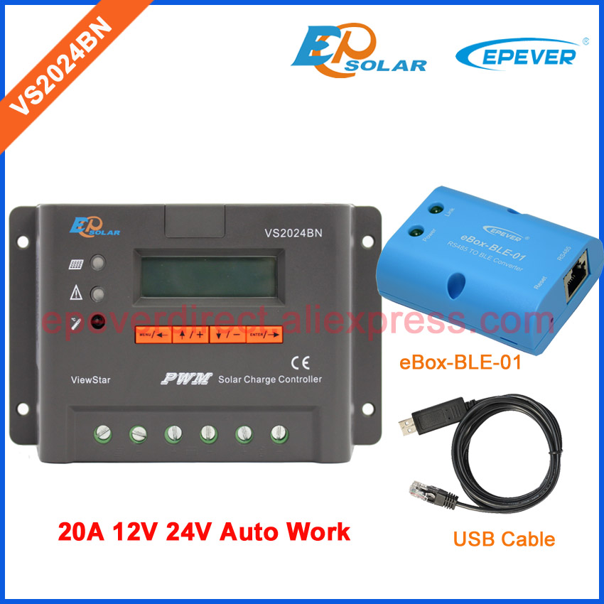 PWM 20A controller 12V 24V EPEVER new series regulators bluetooth function VS2024BN USB cable EPSolar Solar battery Charging epever epsolar pwm solar regulator charger 12v new series controller vs2024bn wifi mt50 remote meter and usb cable 20a