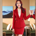 New Hot Sale Suits Formal Office Work Sleeved Dress Summer 2016 Fashion Slim Jewelry Front Beauty Hotel Uniform Line