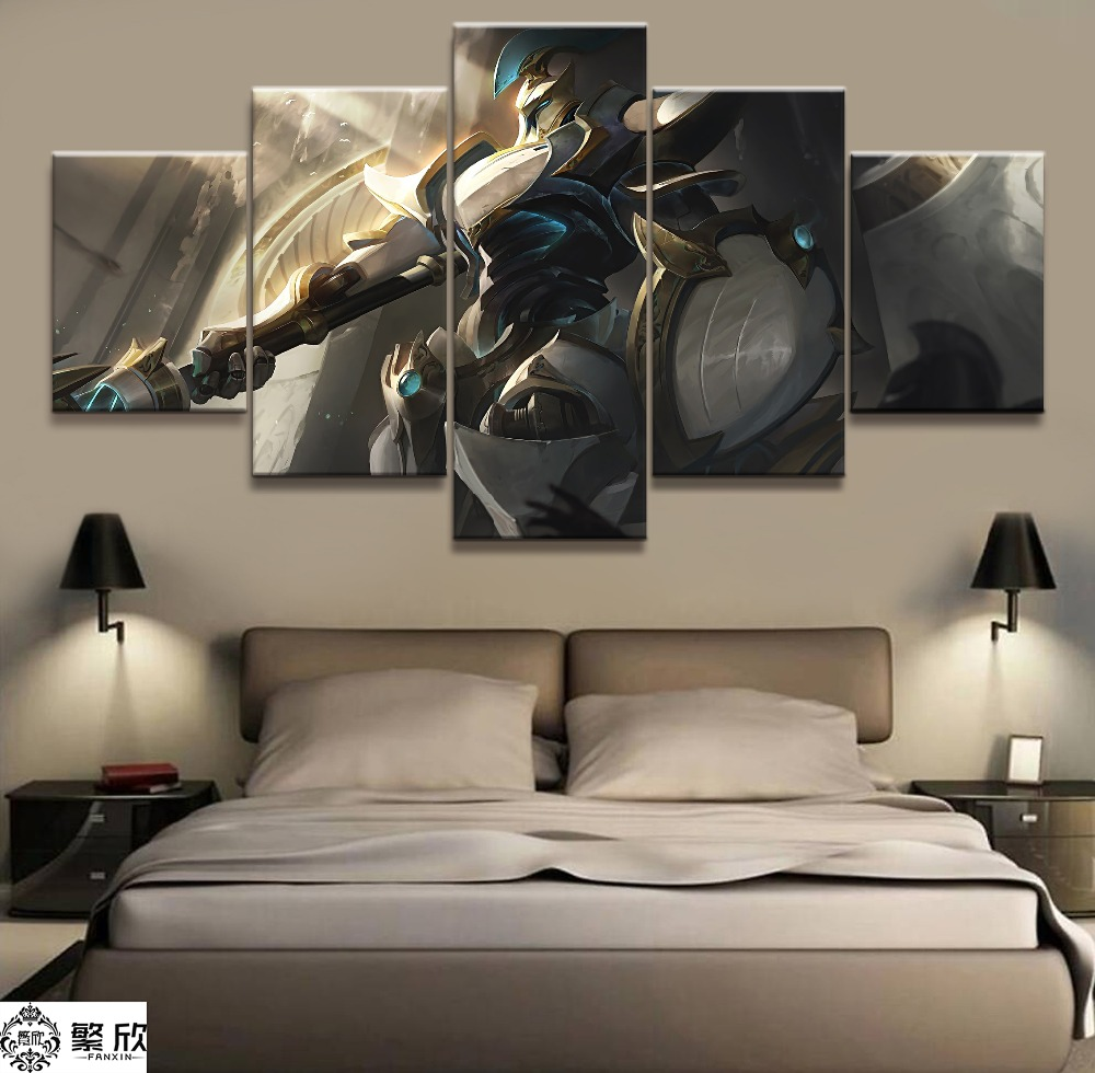 5 Panel LOL League of Legends Kayle Game Canvas Printed Painting For Living Room Wall Art Decor HD Picture Artworks Poster