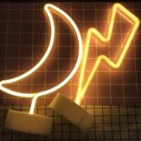 DELICORE Lightning Moon Shape LED Neon Night Light With Base Warm White Neon Light Bedroom Wedding