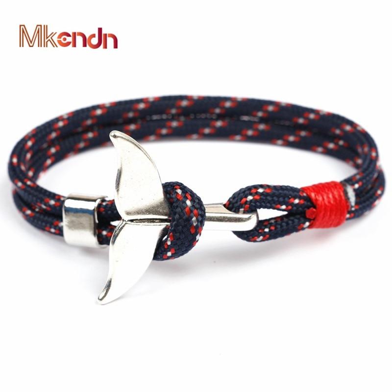 MKENDN Fashion Whale Tail Anchor Bracelets Men Women Charm Nautical Survival Rope Chain Paracord Bracelet Male Wrap Metal Hooks