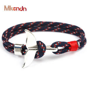 MKENDN Men Women Charm Survival Rope Chain Male Wrap Metal