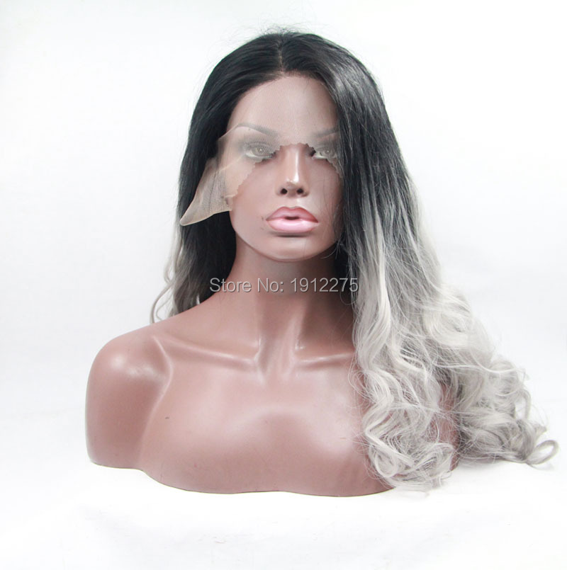 ФОТО hot selling gray lace front wig synthetic body wave hair heat resistant black color heat resistant fiber free shipping