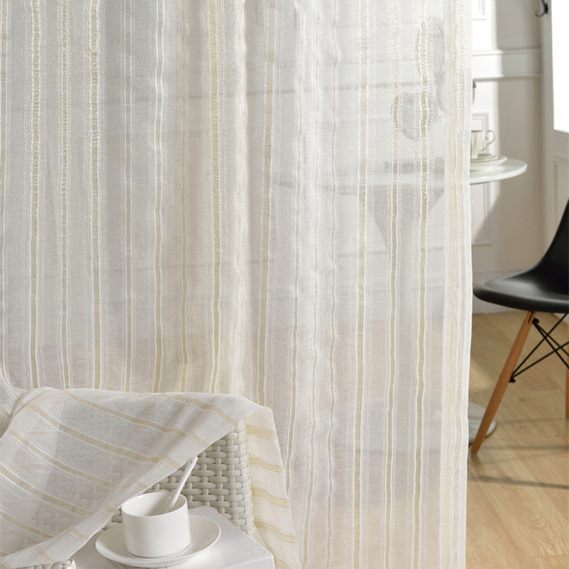 Gold Vertical StripesTulle Curtains For Living Room Window Bedroom Kitchen Modern Sheer Voile Drapes 1PC In From Home Garden On