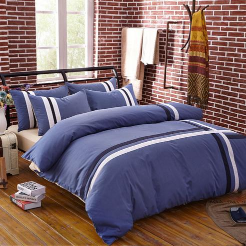 4pcs/set 100% Cotton Bedding Sets Men Comfortable Luxury Home Textiles King  Queen Bed